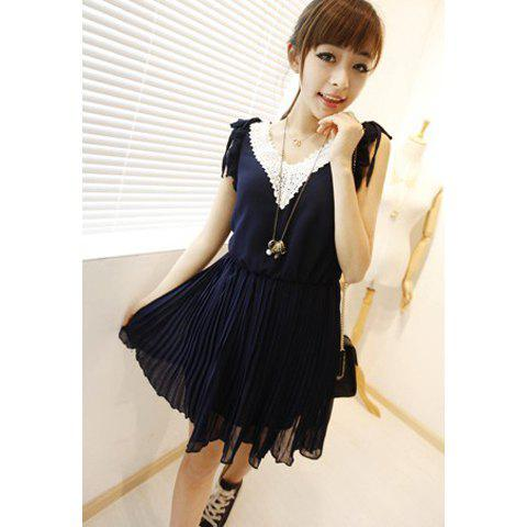 New Arrival Crochet Lace Neckline Flouncing Sleeves Chiffon Dress For Women - BLUE