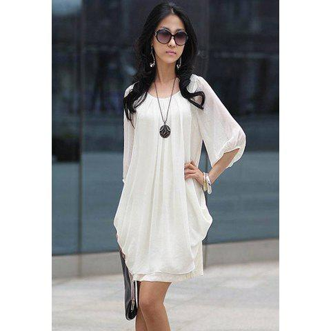 2018 Refreshing Casual Plus Size Three Quarter Sleeves Scoop Neck