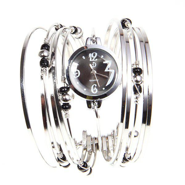 Fashionable Multi-Strand Rings Bangle Design Quartz Watch with Numerals and Dots Hour Marks for Female - SILVER