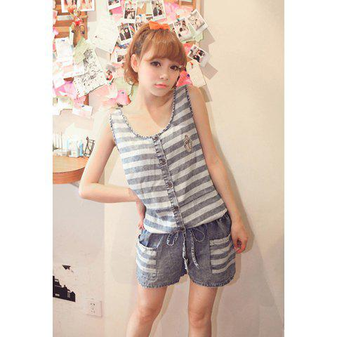 Navy Style Sweet Scoop Neck Pockets Embellished Checked Sleeveless Denim Jumpsuit For Women - AS THE PICTURE