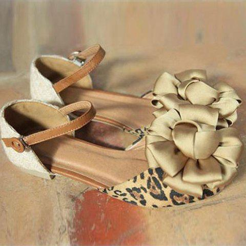 Fashion and Sweet Style Big Flower Embellished Buckle Design Women's Flat Shoes - BROWN 36