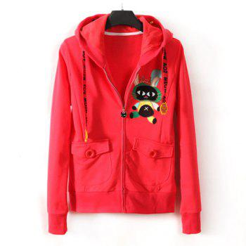 Double Pocket Cute Rubbit Long Sleeve Hooded Zipper Coat For Women