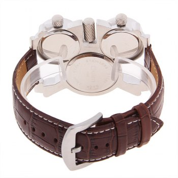 Oulm Men's Quartz Military Wrist Watch with 3-Movt 23mm Genuine Leather Band -  BROWN