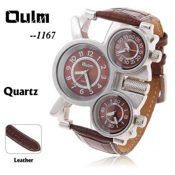 Oulm Men's Quartz Military Wrist Watch with 3-Movt 23mm Genuine Leather Band - BROWN BROWN