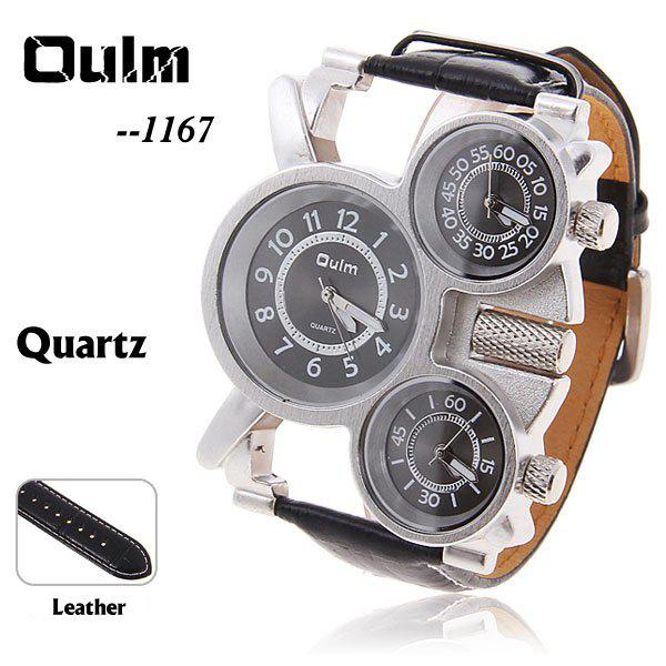 Oulm Men's Quartz Military Wrist Watch with 3-Movt 23mm Genuine Leather Band - BLACK
