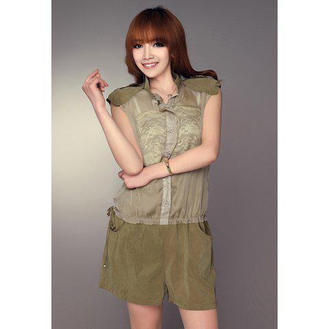 Lady Style Sweet Shoulder Board Design Transparent Chiffon Embellished Sleeveless Jumpsuit For Women - KHAKI