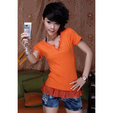 Casual V-Neck Hem Puff Short Sleeves Faux Twinset Cotton T-Shirt For Women - JACINTH