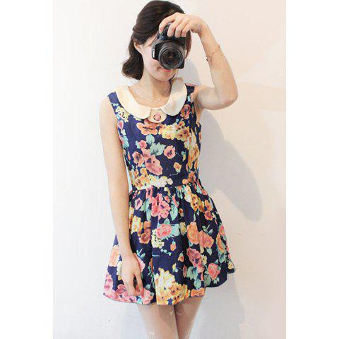 Retro Style Floral Printed Lapel Sleeveless High Waist Chiffon Dress For Women - BLUE