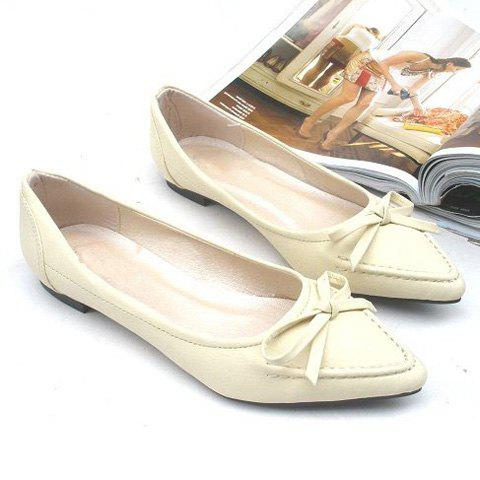 Fashion and Elegant Bowknot Embellished Mix-Matched Pointed Head Design Women's Flat Shoes - BEIGE 36