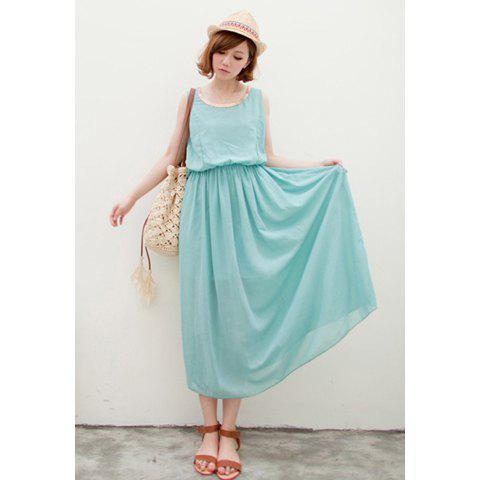 High Waistline Chain Embellished Collar Sleeveless Chiffon Dress For Women - LIGHT BLUE
