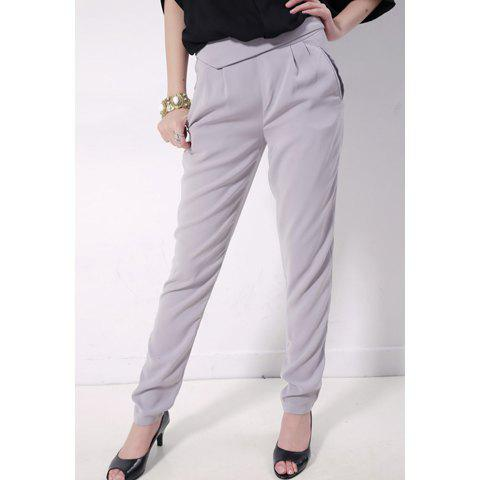 Slim and Elegent Zipper Solid Color Cotton Trousers For Women - GREY/GRAY M