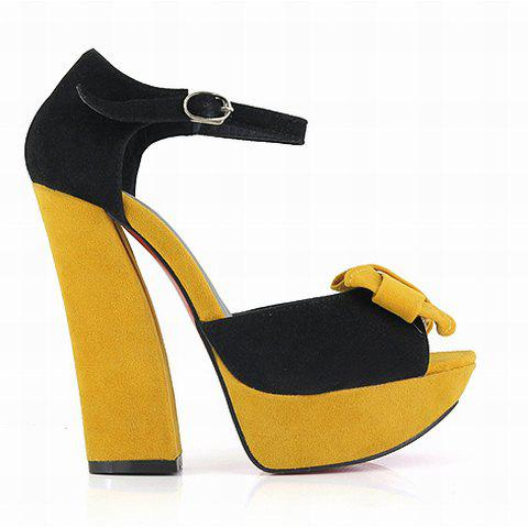 High Heel Women's Sandals With Color Matching Bowknot and Peep Toes Design - YELLOW 37