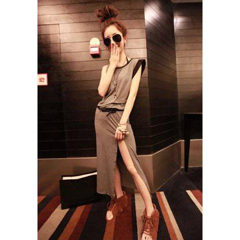 Fashionable Solid Color Irregularity Hem One-Shoulder Scoop Neck Short Sleeves Women's Cotton Dress With Belt - GREY/GRAY