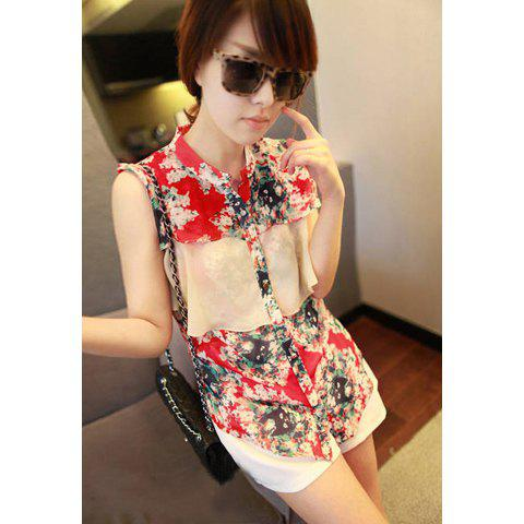 Women's Sleevesless Chiffon Shirt With Tiny Floral Print and Flounce Embellished - RED
