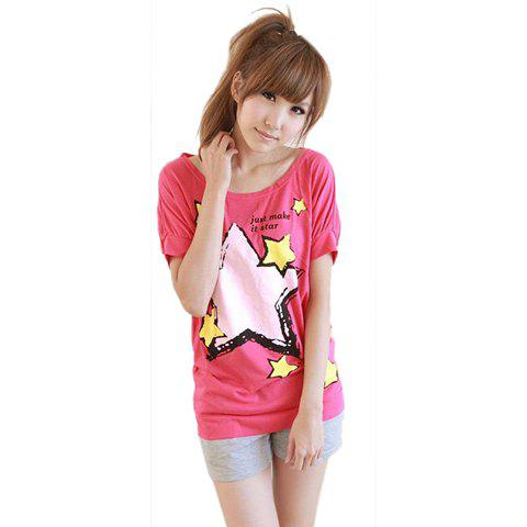 Hot Sale Loose-Fitting Five-Pointed Star Printed Short Sleeves Scoop Neck Short T-Shirt For Women - RED