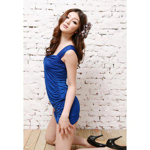 Sexy Charming Slimming Fit Solid Color Dress For Women - BLUE