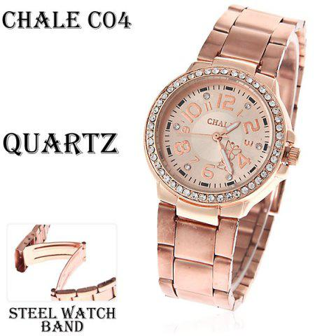 Fashionable Chale Rhinestone Decoration Steel Quartz Analog Watch with Numerals Indicate Time Chassis for Female (Golden) -