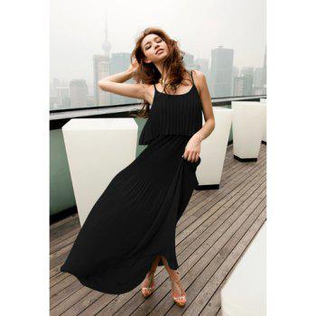 Women's Chiffon Dress With Solid Color Spaghetti Strap Scoop Neck Design - BLACK BLACK