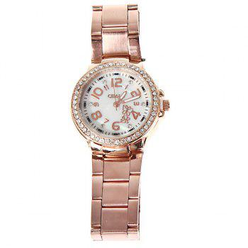 Fashionable Chale Rhinestone Decoration Steel Quartz Analog Watch with Numerals Indicate Time Chasis for Female (Golden) -