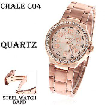 Fashionable Chale Rhinestone Decoration Steel Quartz Analog Watch with Numerals Indicate Time Chasis for Female (Golden)