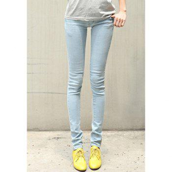 Simple Design Narrow Feet Solid Color Jeans Pants For Women - LIGHT BLUE 28