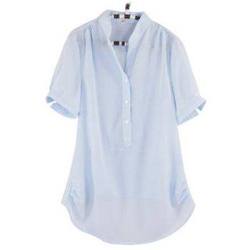 Women's Chiffon Shirt With V-Neck Short Sleeve Asymmetric Hem Transparent Design - LIGHT BLUE 3XL