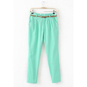 Women's Casual Trousers With Solid Color and Ruffled Design - GREEN S