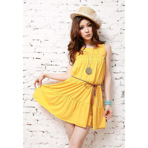 Elegant Slimming Fit Sleeveless Scoop Neck Solid Color Dress For Women - YELLOW