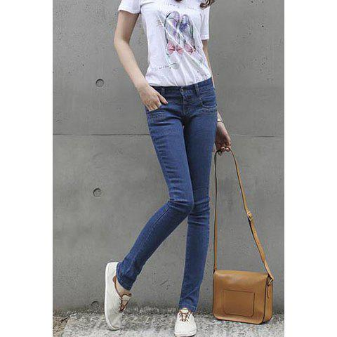 Women's Jeans Pants With Stretchy Narrow Feet Design - DEEP BLUE 30