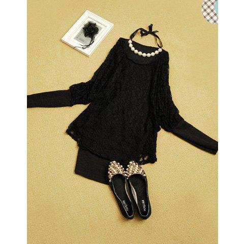 Women's Slimming Lace+Terylene Dress With Bat-Wing Sleeves and Color Block Design - BLACK ONE SIZE