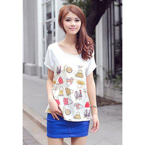 Women's Pluse Size Chiffon Shirt With Funny Pattern Print Design - AS THE PICTURE ONE SIZE