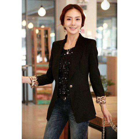 Women's Slimming Blazer With Solid Color and Pocket Single Button Design - BLACK S
