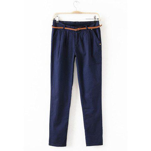 Women's Casual Trousers With Solid Color and Ruffled Design - NAVY S