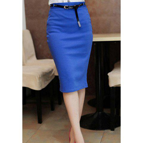 s pencil skirt with solid color and knee length