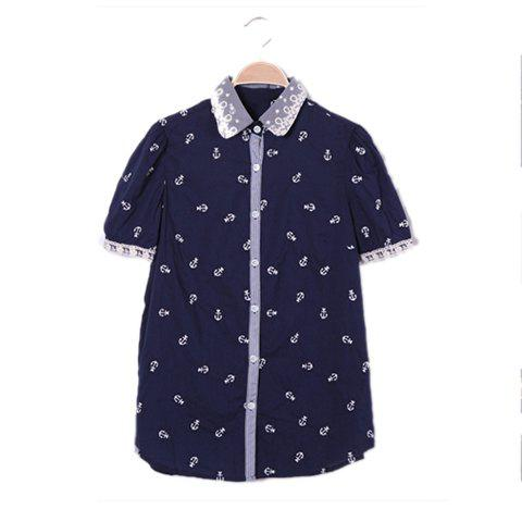 Women's Sweet Shirt With Lace Embellished Collar and Cuff Design - NAVY ONE SIZE