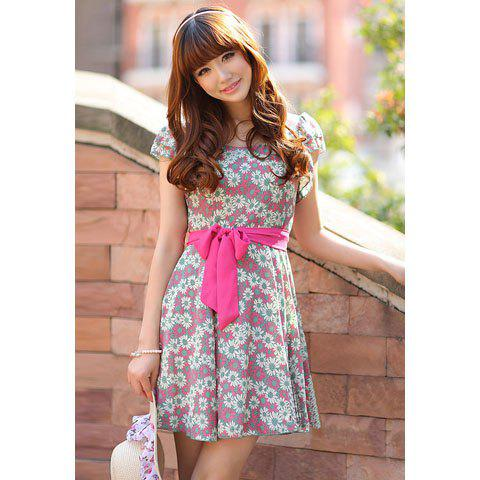 Women's Chiffon Sweet Slimming Dress With Floral Printed Flouncing Sleeves Column Design - RED M