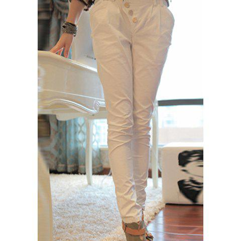 Causal Skinny Trousers with Polka Dot Bottom for Women - WHITE M