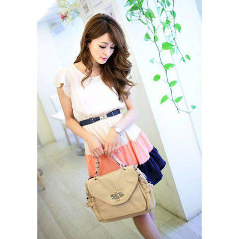 Women's Chiffon Refreshing Dress With Flouncing Sleeves Scoop Neck Color Matching Design - AS THE PICTURE