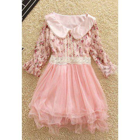 Women's Lace+Voile Dress With Tiny Floral Print Short Sleeves Flounce Design - PINK