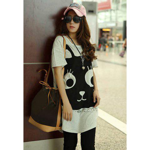 Women's Cotton T-Shirt With Scoop Neck Short Sleeve Kitten Print Color Block Design от Dresslily.com INT