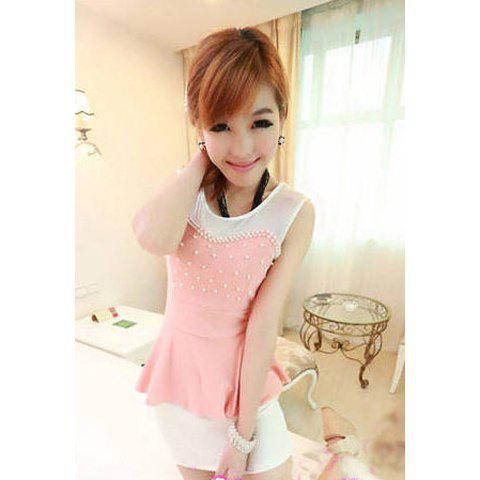 Women's Chiffon Charming Dress With Faux Pearl Sleeveless Splicing Design - PINK