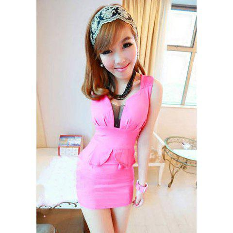 Women's Voile Sexy Club Dress With Plunging Neck Sleeveless Slimming Design - ROSE