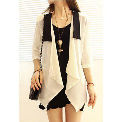 Women's Voile Blouse With Flounce Lapel Three-Quarter Sleeves Design - WHITE