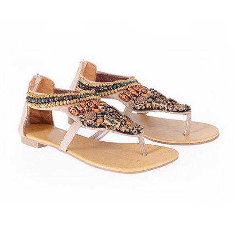 Beaded Women's Flat Sandals With Thongs Design - BEIGE 38
