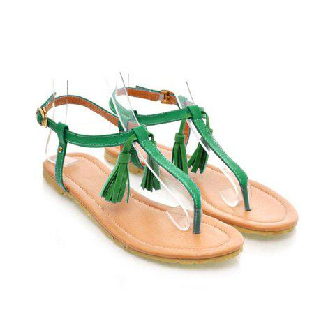 Women's Flat Sandals With Tassels and Thongs Design - GREEN 38