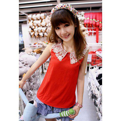 Sweet Lace Neckline Design Sleeveless Chiffon Blouse For Women - RED