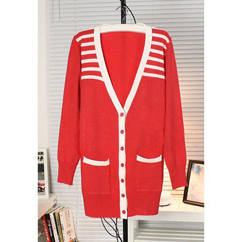 Women's Cotton Thread Preppy Style Cardigan With Stripes Shoulder V-Neck Long Sleeves Slimming Design - RED