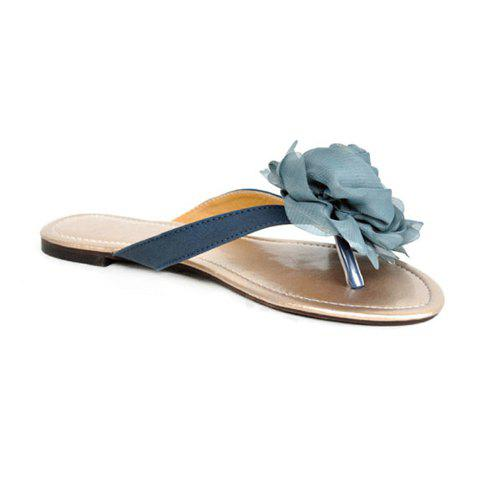 Casual Women's Flat Slippers With Flower Design - BLUE 35