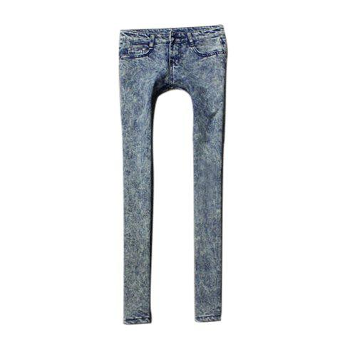 Snow Wash Narrow Feet Skinny Jeans Pants For Women - BLUE 28