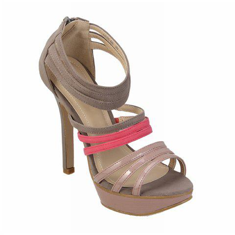 Party Color Block High Heel Women's Sandals With Straps Design - GREY/GRAY 35